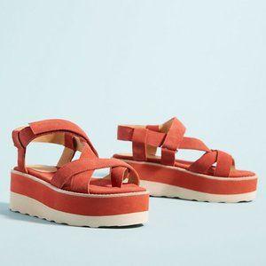 Anthro/ Bill Blass Red Radley Platform Sandals 8.5